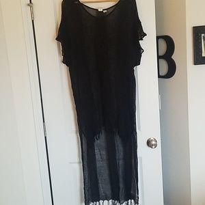 Roxy Black Hi- Lo Swimsuit Coverup with Fringe